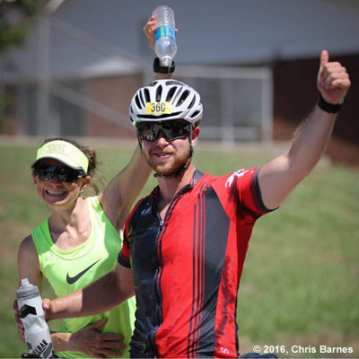 Cameron Philpott cooling off during the Tulsa Triathlon at Birch Lake in Barnsdall,Oklahoma